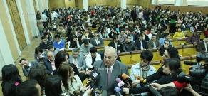 Встрча ректора ЕГУ Арама Симоняна с журналистами во время 90-летия ЕГУ
