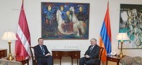 Minister of Foreign Affairs of Armenia Edward Nalbandyan receives Minister of Foreign Affairs of Latvia Edgars Rinkēvičs