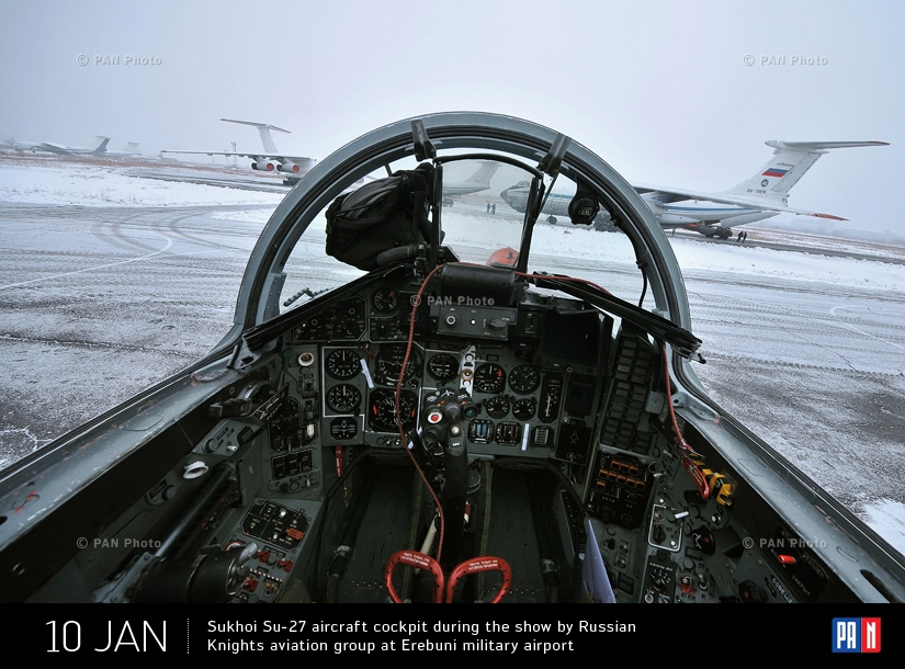 Sukhoi Su-27 aircraft cockpit during the show by Russian Knights aviation group at Erebuni military airport. Yerevan, Armenia