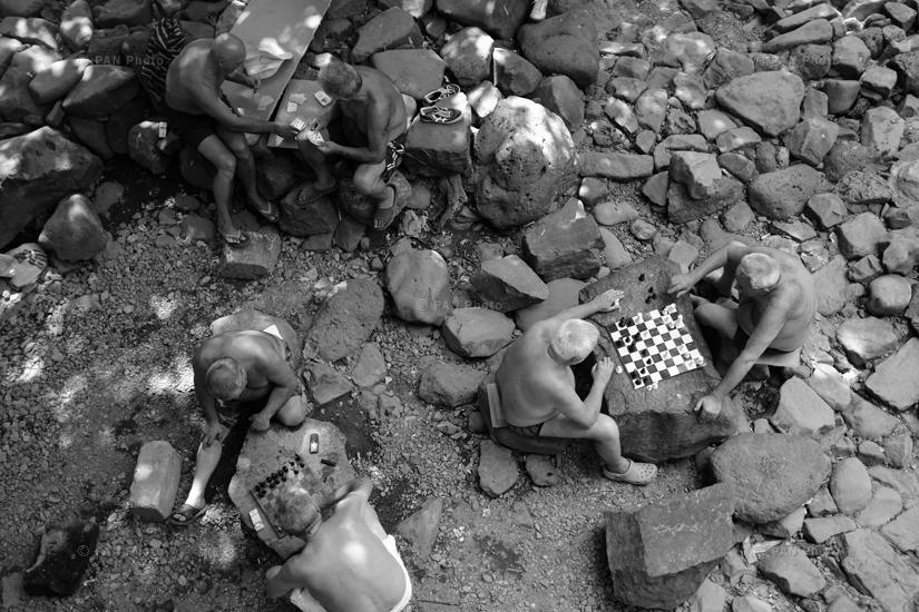 "Pastime of Hrazdan Gorge's older people. Hrazdan City, Kotayk Province, Armenia (from ""Bidzeki gyol: Traditional pastime at Hrazdan Gorge"" feature story)"