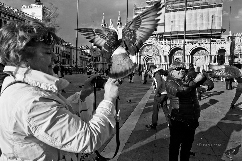 """Women feed pigeons at Piazza San Marco, Italy (from """"Venice. The City of Islands"""" feature story)"""