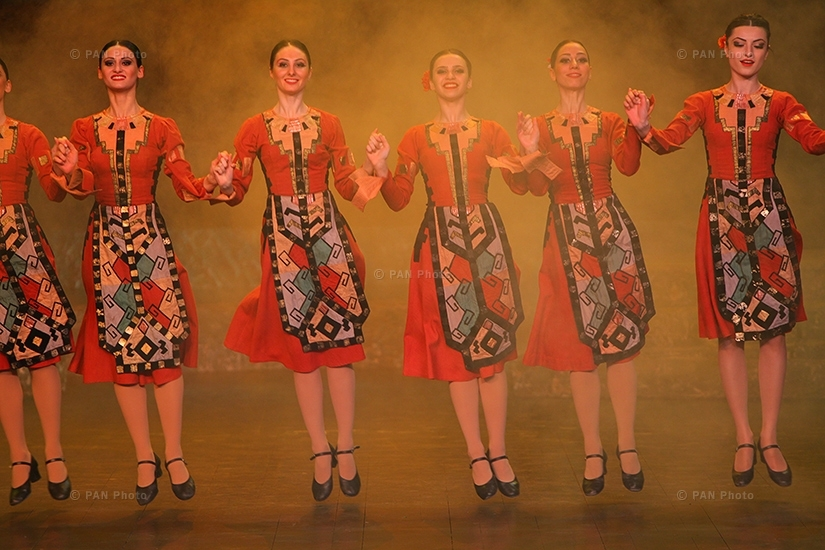 Armenian girls dance national dances during the concert dedicated to 150th birth anniversary of General Andranik Ozanyan