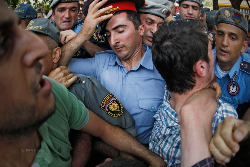 Clash between police  during I Won't Pay 150 Drams protest. Yerevan, Armenia