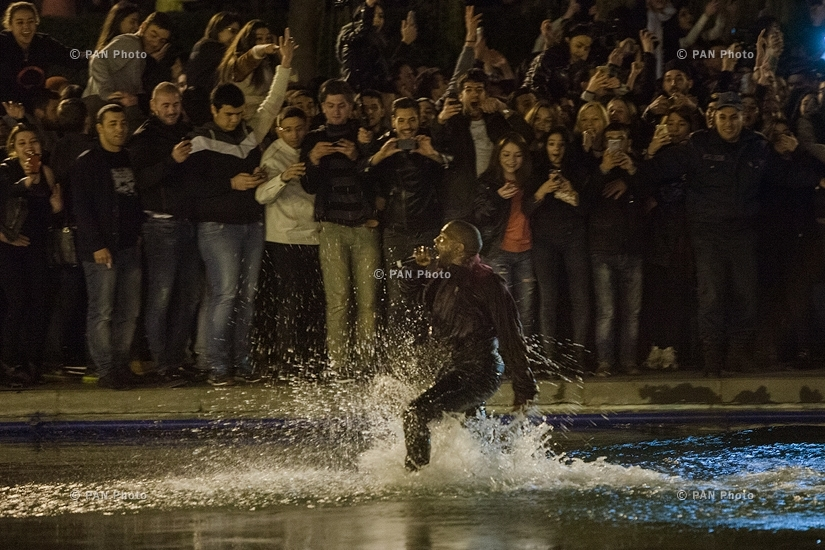 Rapper Kanye West jumped into Swan lake during his free concert in Yerevan, Armenia