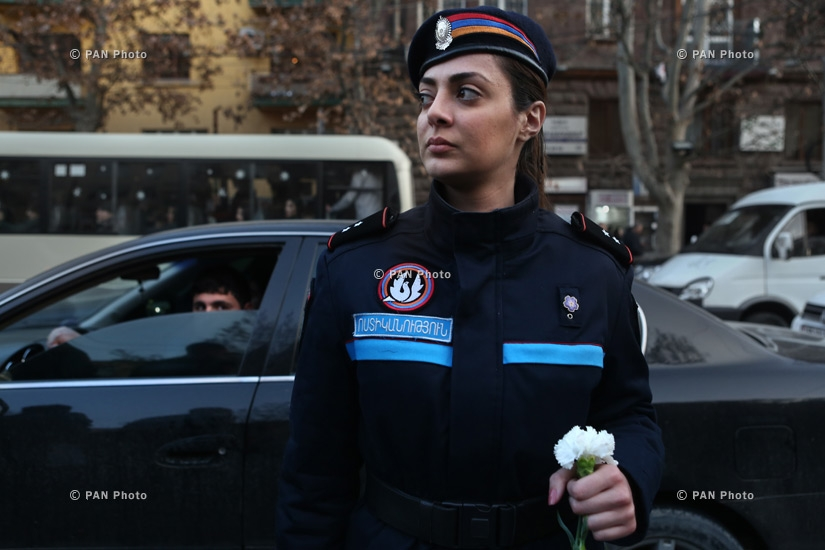 A policewoman during Armenian opposition rally dedicated to March 1, 2008 events in Yerevan