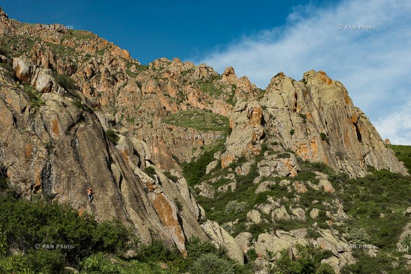Rock climbing in Gomk village. Vayots Dzor Province, Armenia