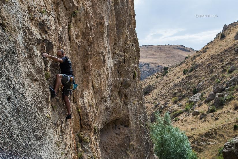 Rock climbing in Hell's Gorge.  Ararat Province, Armenia