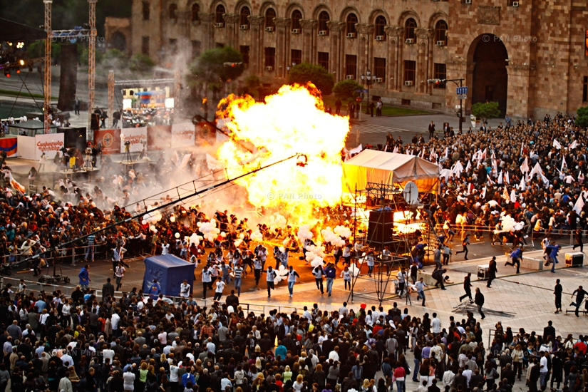Balloon explosion during RPA's concert at Republic Square. Yerevan, Armenia