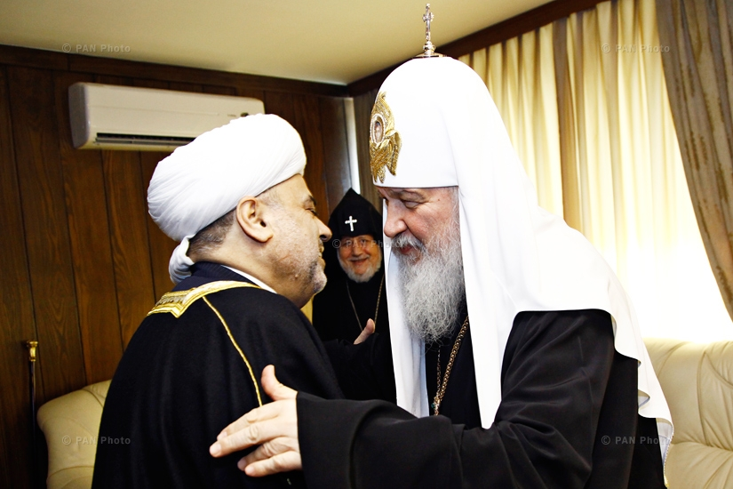 Patriarch of Moscow and All Russia Kirill, Catholicos of All Armenians Karekin II and Sheikh-ul-Islam Haji Allahshukur Pashazadeh during Trilateral meeting of CIS spiritual leaders. Yerevan, Armenia