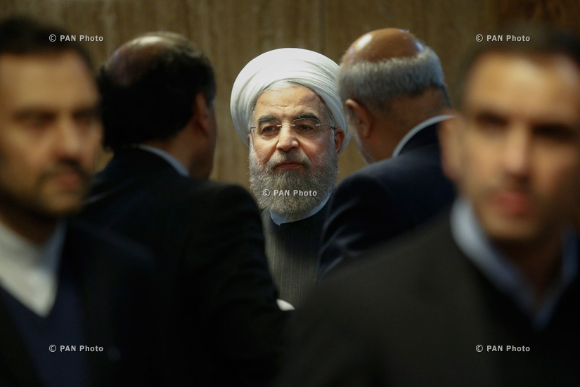 President of Iran Hassan Rouhani before the meeting with Armenian Prime Minister Karen Karapetyan in Yerevan