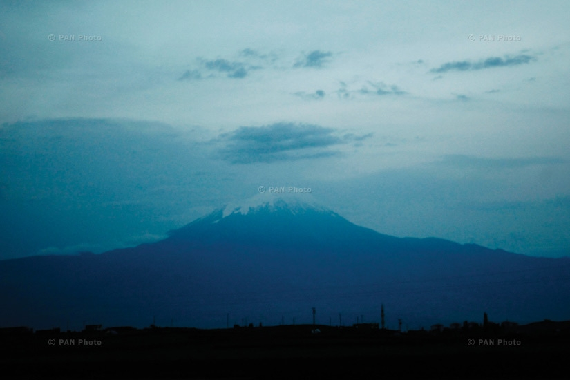 Mt. Ararat, as seen from Igdir. The mountain is strikingly beautiful when seen from Armenia, but the view from Turkey is not particularly attractive