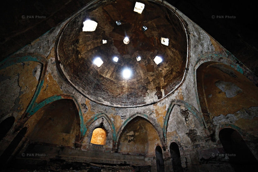 The bathhouses of Kars. Bearing a typical Byzantine style, the bathhouses were located in the lower part of the fortress, near the river. They are in a state of neglect today, filled with rubbish