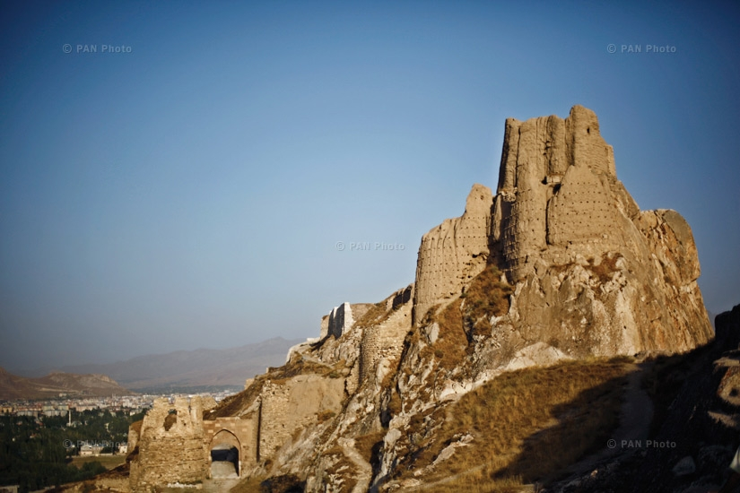 The Urartian fortress of Van, near the present location of the city of Van. The foot of the fortress used to host a large Armenian district called Aygestan, which has now been completely eliminated