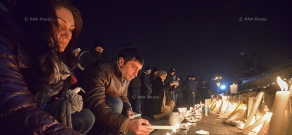 Vigil in Yerevan in memory of Avetisyans family killed in Gyumri