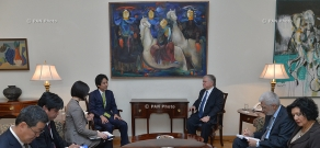 Armenian Foreign Minister Edward Nalbandyan receives Japan's State Minister for Foreign Affairs Minoru Kiuchi