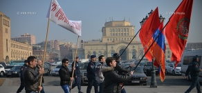Protest march of  Sarkis Dkhruni Students and the Youth Union of Social Democrat Hunchakian Party (SDHP)