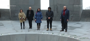 «The Cut» film shooting group- Fatih Akın, Mardik Martin, Ruben Dishdishyan and Aram Movsesyan visit Tsitsernakaberd Memorial