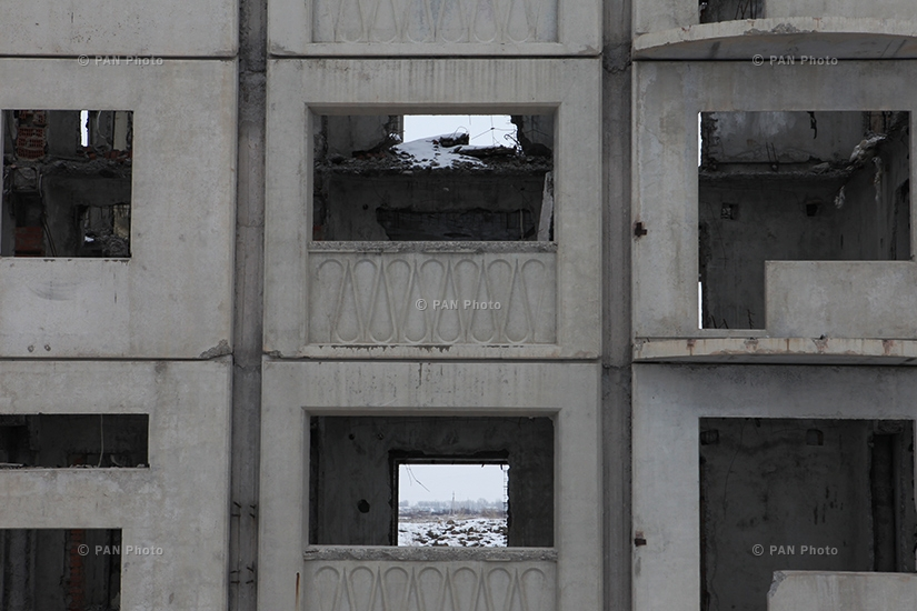 Mush 2 district of Gyumri. The construction remained undone after the collapse of Soviet Union