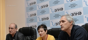 Press conference of National security party leader Garnik Isagulyan and director Tigran Khzmalyan