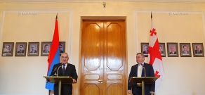 Joint press conference of Speaker of the Parliament of Georgia David Usupashvili and  speaker of the Armenian parliament Galust Sahakyan