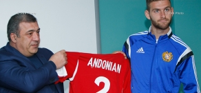 AFF President Ruben Hayrapetyan introduces new players of national football team Gaël Andonian and Ruslan Korian