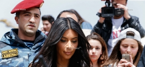 Kim Kardashian and Khloé Kardashian walk at downtown Yerevan