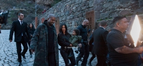 Kim Kardashian and her family visit Geghard Monastery