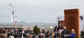 Khachkar dedicated to the Armenian Genocide centennial consecrated in Masis town