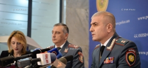 ress conference of senior deputy chief of Armenian Police, Major General Hunan Poghosyan