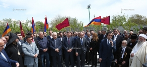 Unveiling of the monument to Armenians and Yezidis killed during Genocide and reburial of Yezidi hero of Sardarapat battle Jahangir Agha