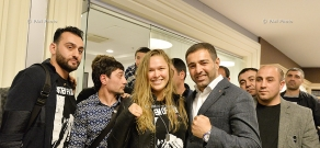 American mixed martial artist, judoka and actress Ronda Jean Rousey and  Muay Thai Fighter Melsik Baghdasaryan arrive in Yerevan