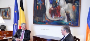 Armenian Foreign Minister Edward Nalbandian meets his Belgian counterpart Didier Reynders