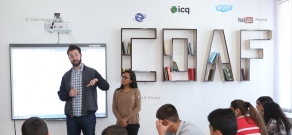 Alexis Ohanian and Sabriya Stukes visited newly renovated schools by Children of Armenia Fund (COAF) in Hatsik and  Karakert