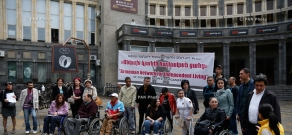 Flash-mob aimed to eliminate obstacles to free movement of disabled people