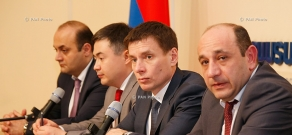 Press conference of Eurasian Economic Commission Board members and  First Deputy Minister of international economic integration and reform Suren Karayan