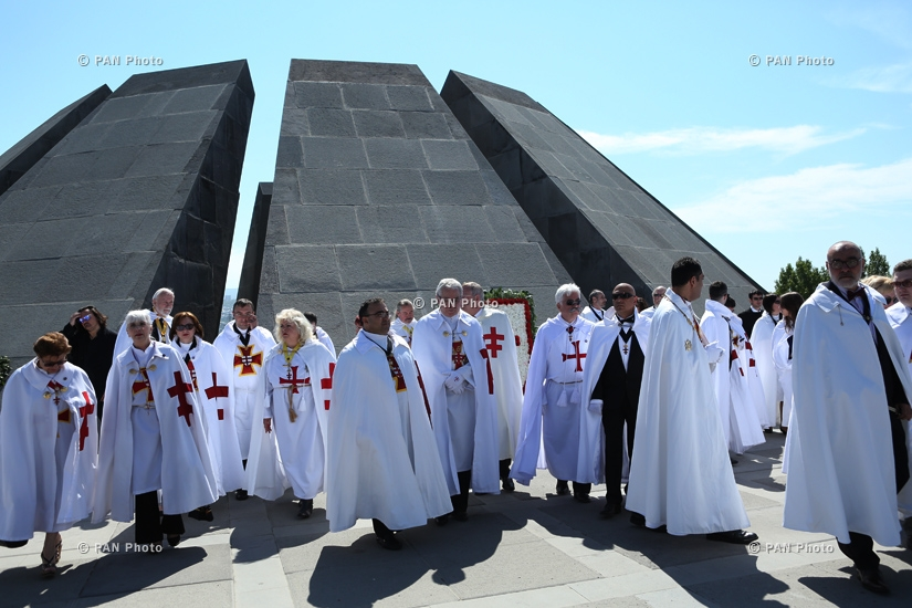 Knights Templars visit Tsitsernakaberd Memorial and sign