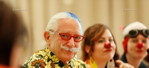 Press conference of medical doctor and clown Patch Adams