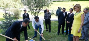 Cherry blossoms (Sakura trees) are planted in the park of National Assembly to symbolize Armenian-Japanese friendship