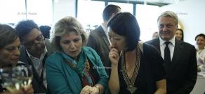 Midem 2015: Cultural Ministers of Armenia and France Hasmik Poghosyan and Fleur Pellerin visit Armenian Pavilion