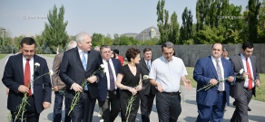 Georgia's Minister of Justice Tea Tsulukiani and Minister of Corrections, Probation and Legal Assistance Giorgi Mgebrishvili visit Tsitsernakaberd