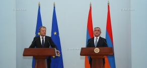 Joint press conference of Armenian President Serzh Sragsyan and President of the European Council Donald Tusk