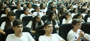 Armenian Minister of Defense Seyran Ohanyan meets with youths that have arrived in Armenia under the Come Home program