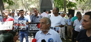 Protest in Yerevan support of Yezidi people massacred by ISIS in Iraq