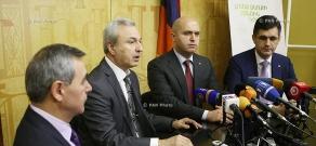 Press conference of RA Education Minister Armen Ashotyan, VivaCell-MTS CEO Ralph Yirikyan, director of Synopsys Armenia Hovik Musaelyan and Unicomp Founding CEO Armen Baldryan