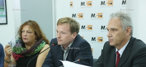 Matthias Kiesler, Ayşe Özlem, Mathias Klingenberg summarize first stage of Turkish-Armenian reconciliation program, Acting Together, at a press conference
