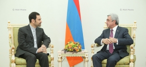 Iran's newly appointed ambassador to Armenia Seyyed Kazem Sajjad hands his credentials to RA president Serzh Sargsyan
