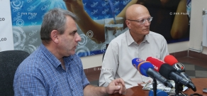 Press conference of monuments specialist Samvel Karapetyan and Chairman of 'Digital Monument' NGO Armen Gevorgyan