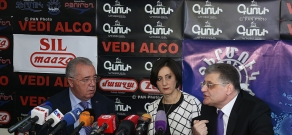 Press conference of Mkrtich Minasyan (RPA) and 'New Times' party leader Aram Karapetyan