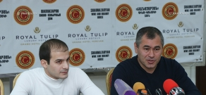 Press conference of Armenian artistic gymnastics team head coach Hakob Serobyan and the bronze medalist of the World Gymnastics Championship Harutyun Merdinyan