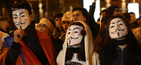 Anonymous Million Mask March in Yerevan's Liberty Square